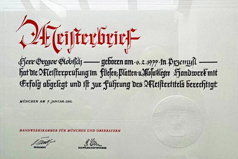 Meisterbrief von Gregor Globisch, Fliesenlegermeister in Augsburg