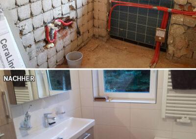 Badezimmer vorher/nachher Vergleich